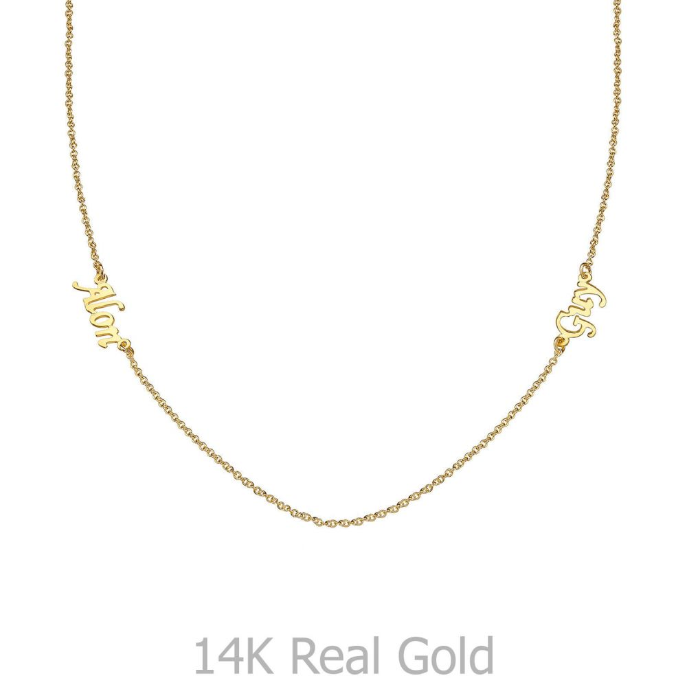 Personalized Necklaces | 14k Yellow gold women's pandant - Two Names Necklace
