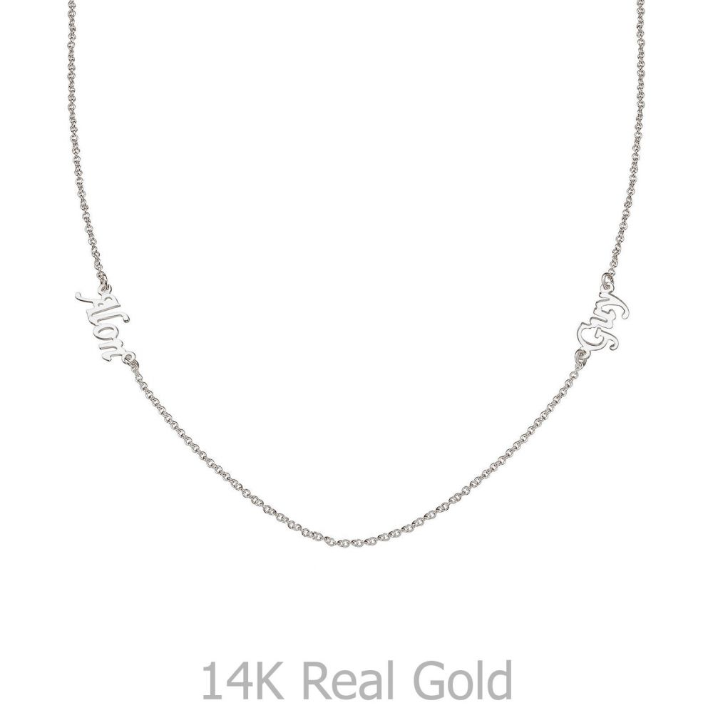 Personalized Necklaces | 14k White gold women's pandant - Two Names Necklace