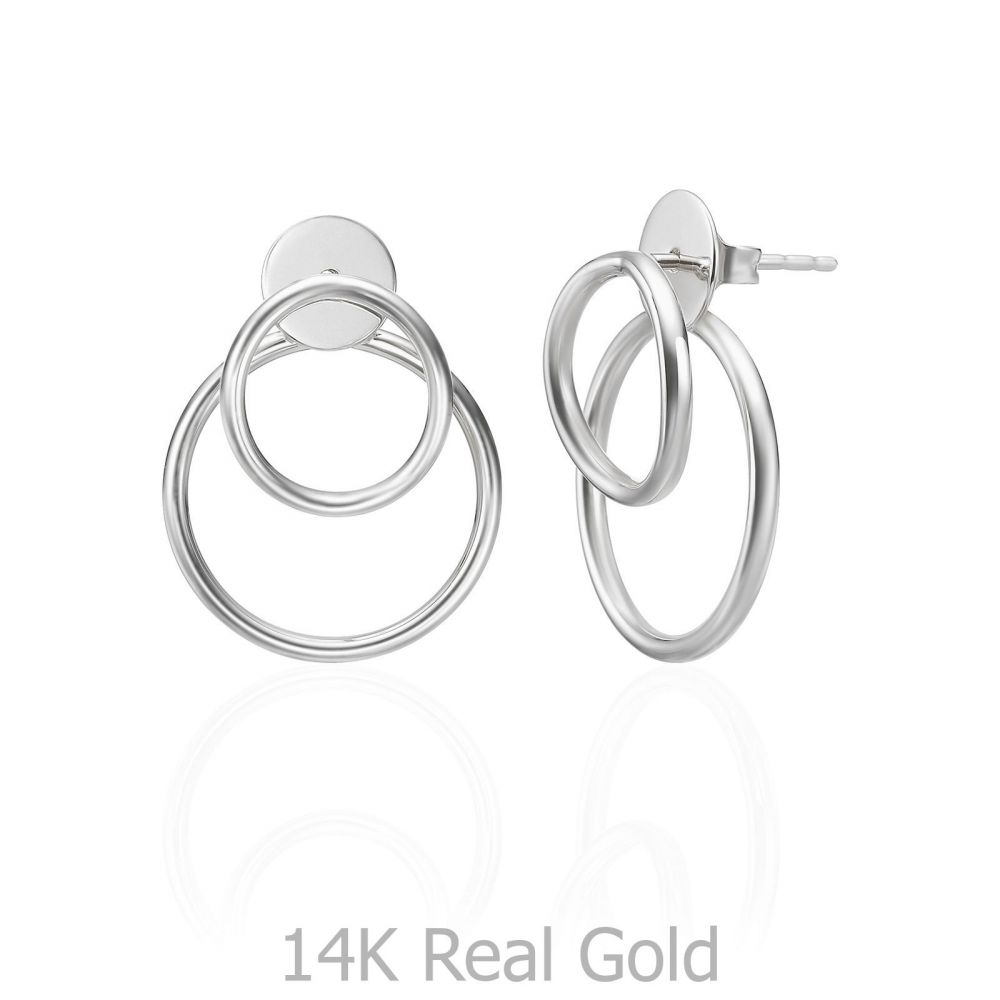 Women's Gold Jewelry | 14K White Gold Women's Earrings - Petra
