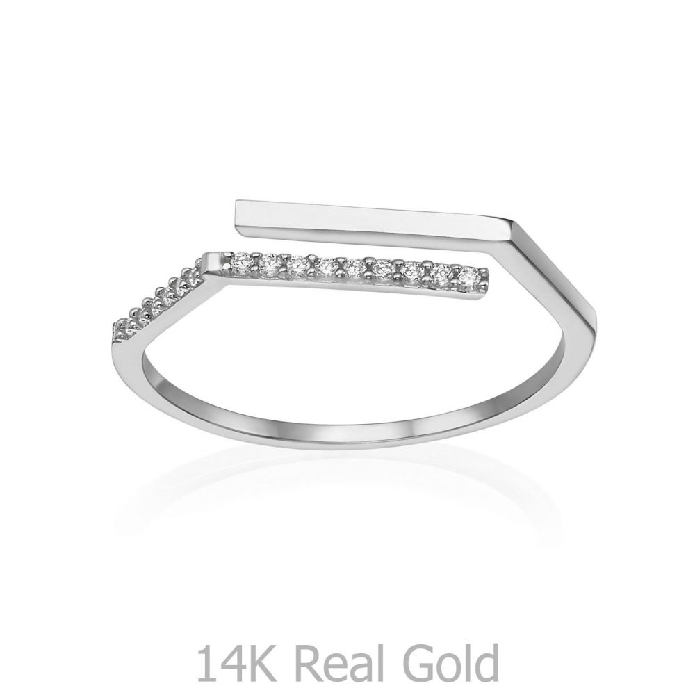 Women's Gold Jewelry | 14K White Gold Open Ring - Lorien