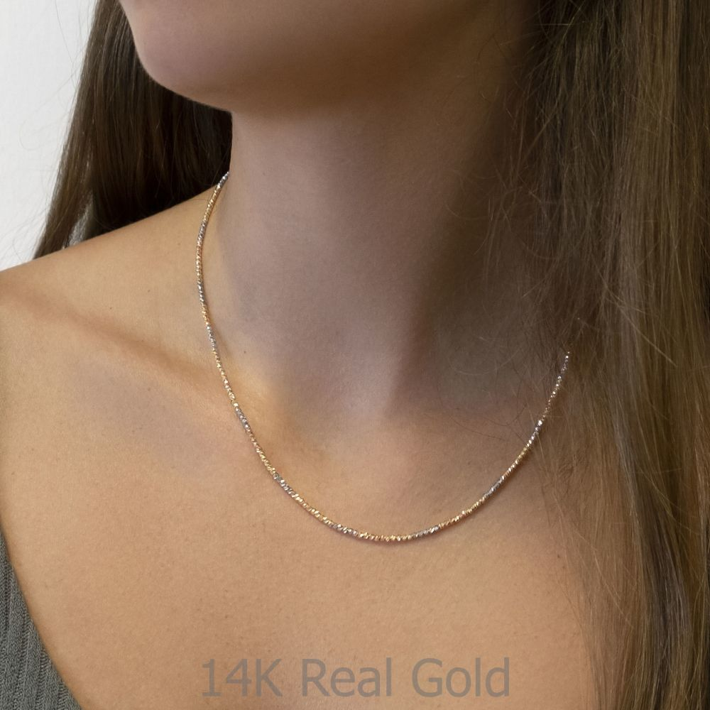 Gold Chains | 14K Yellow White and Rose Gold Balls Necklace - Balls