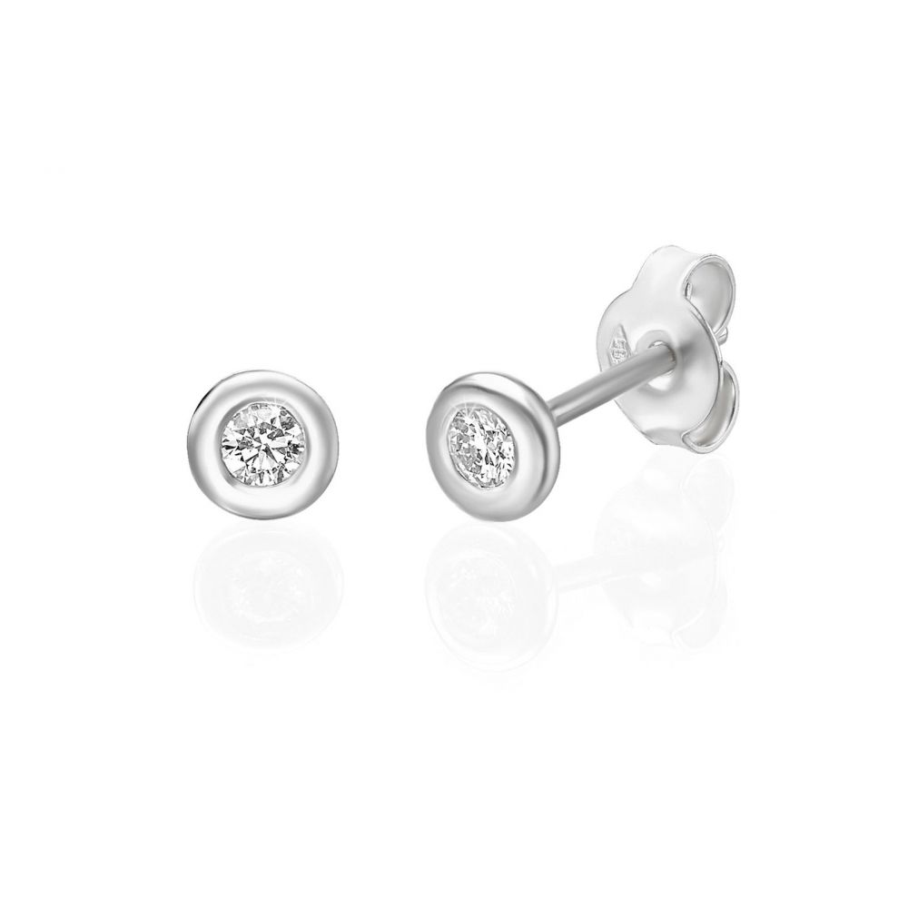 Diamond Jewelry | 14K White Gold Women's Earrings - Chloe