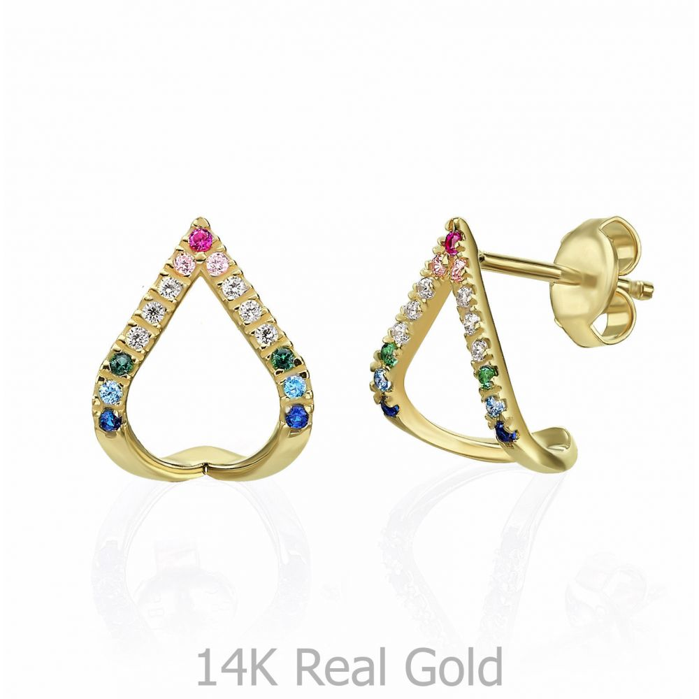 Women's Gold Jewelry | 14K Yellow Gold Earrings - Blue Lagoon