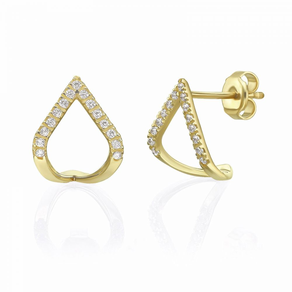 Women's Gold Jewelry | 14K Yellow Gold Diamond Earrings - Sparkling Lagoon