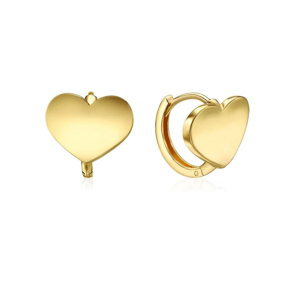 Gold Earrings | 14K Yellow Gold Women's Hoop Earrings - Heart Hoop