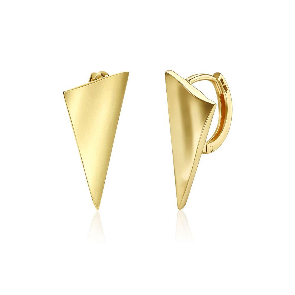 Gold Earrings | 14K Yellow Gold Women's Hoop Earrings - Sail Hoop