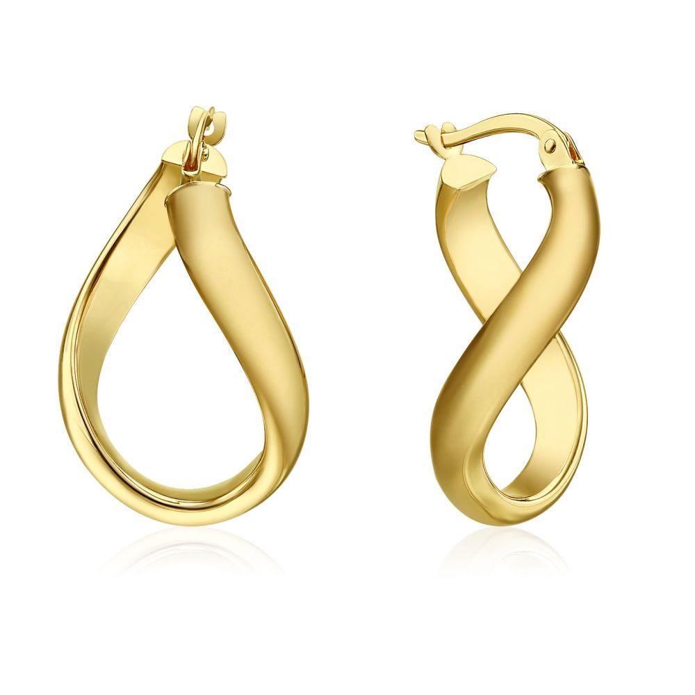 Gold Earrings | 14K Yellow Gold Women's Hoop Earrings - Curved Hoop