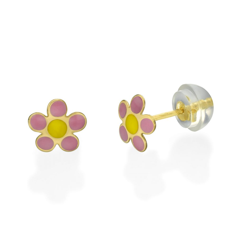 Girl's Jewelry | 14K Yellow Gold Kid's Stud Earrings - Flower of Rosetta