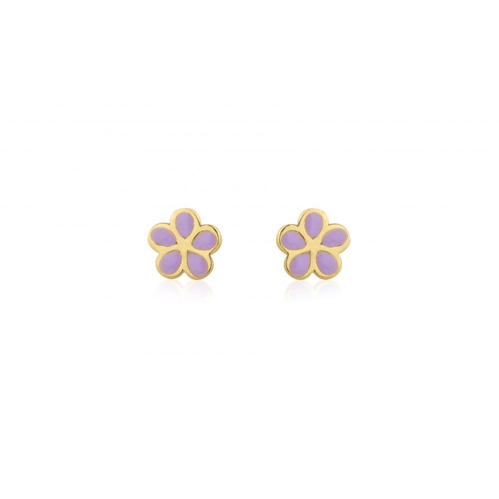 Girl's Jewelry | 14K Yellow Gold Kid's Stud Earrings - Flowering Daisy - Lilac