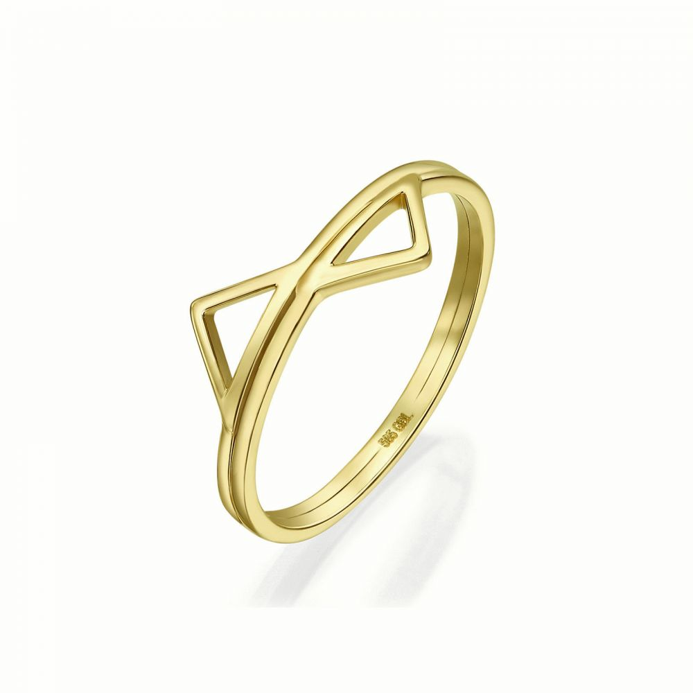 Women's Gold Jewelry | 14K Yellow Gold Rings - Reflected Pyramids