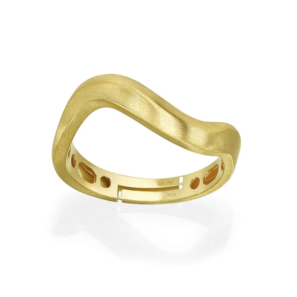 Women's Gold Jewelry | 14K Yellow Gold Rings - Matte Wave