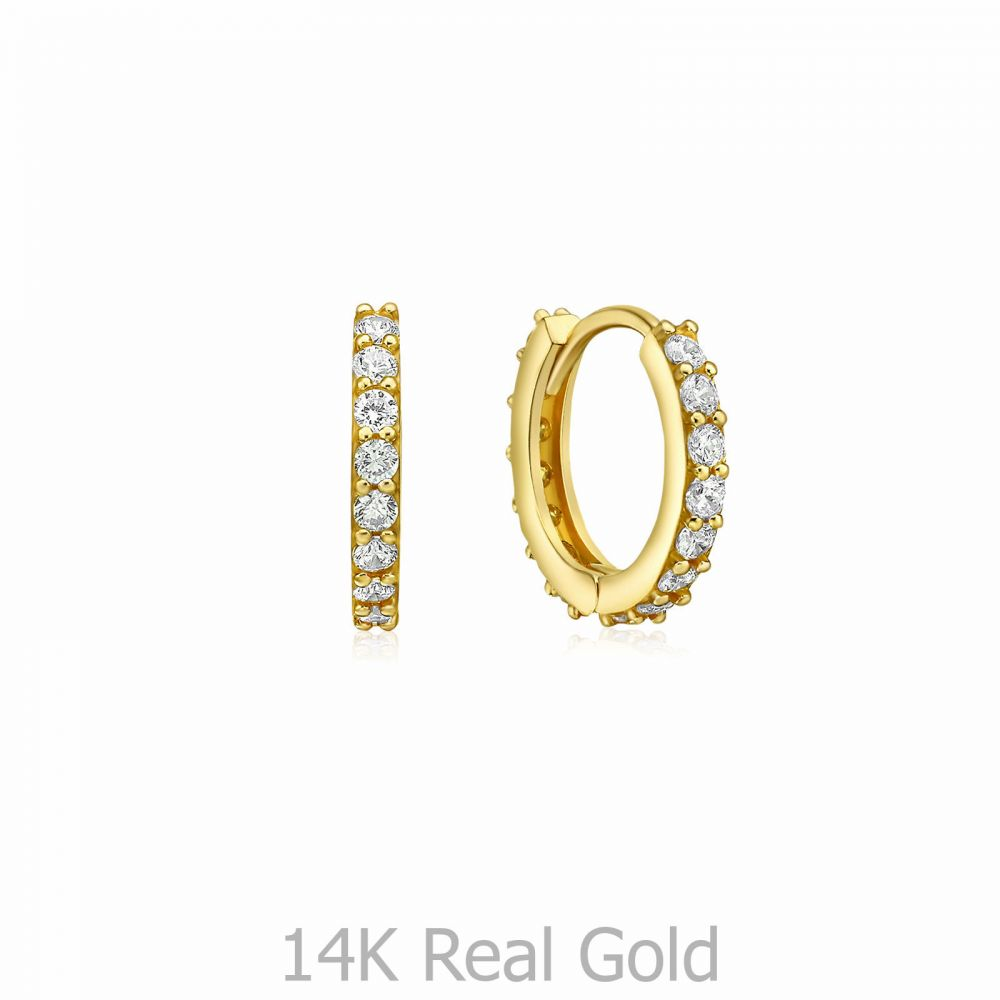 Gold Earrings | 14K Yellow Gold Women's Hoop Earrings - Glittering Athena Hoops S