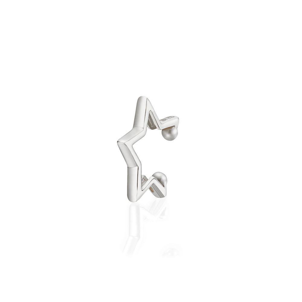 Women's Gold Jewelry | 14K White Gold Women's Cuff Earrings - Hugging Star