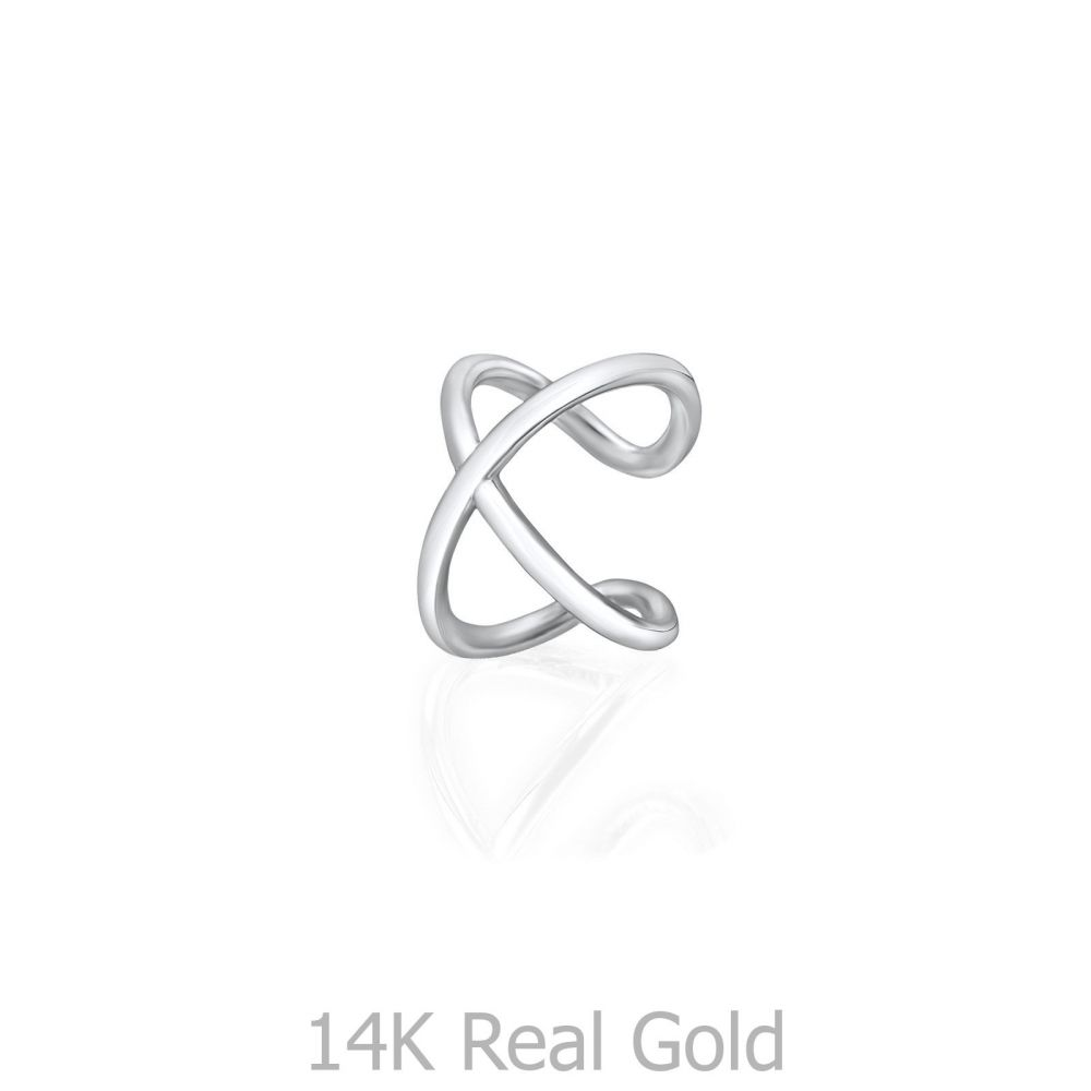 Women's Gold Jewelry | 14K White Gold Women's Cuff Earrings - Hugging X