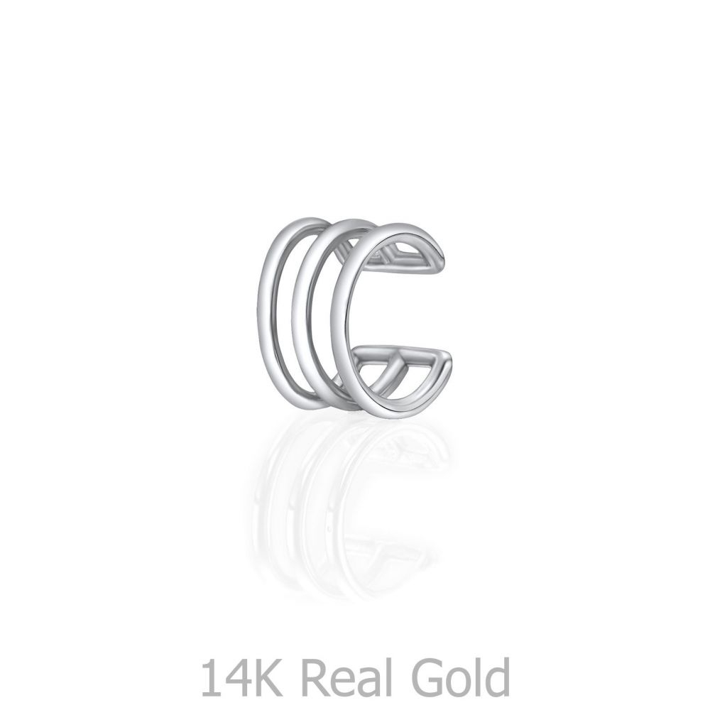 Women's Gold Jewelry | 14K White Gold Women's Cuff Earrings  - Three stripe
