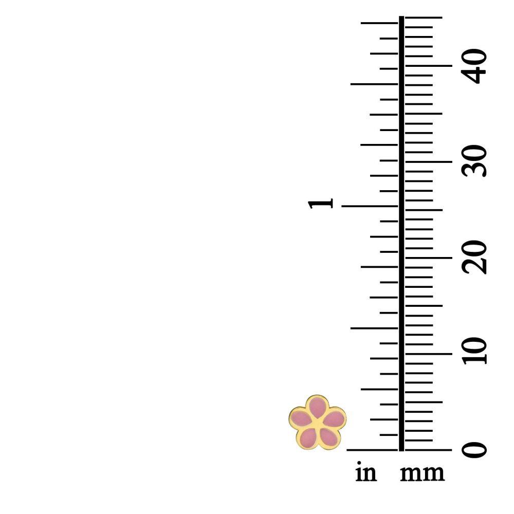 Girl's Jewelry | 14K Yellow Gold Kid's Stud Earrings - Flowering Daisy - Pink