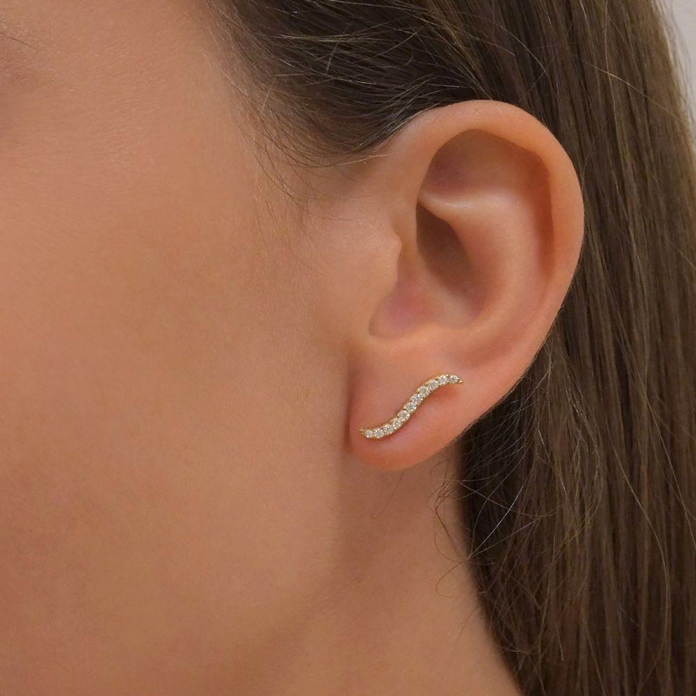 Gold Earrings | 14K Yellow Gold Women's Earrings - Hydra