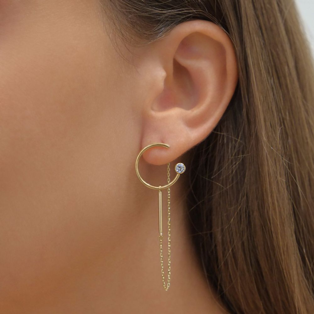 Women's Gold Jewelry | 14K Yellow Gold Women's Earrings - Spakling Viola