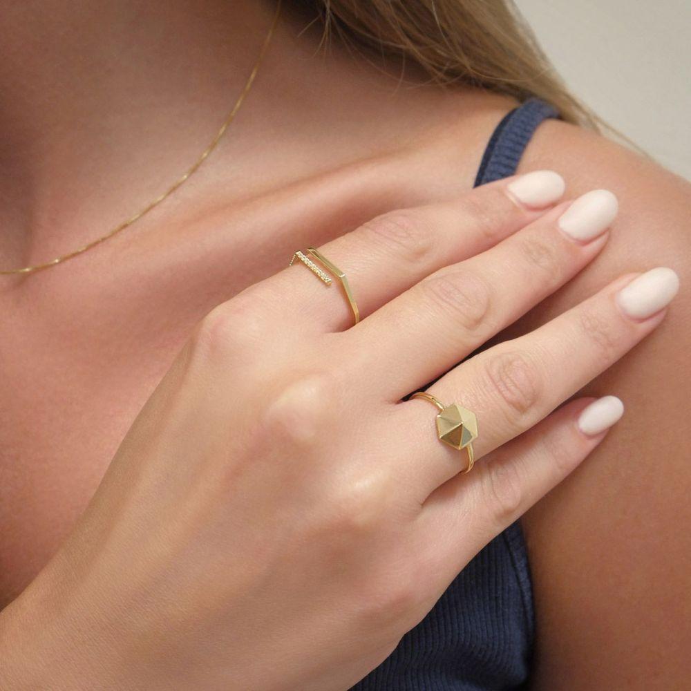 Women's Gold Jewelry | 14K Yellow Gold Ring - Pyramid