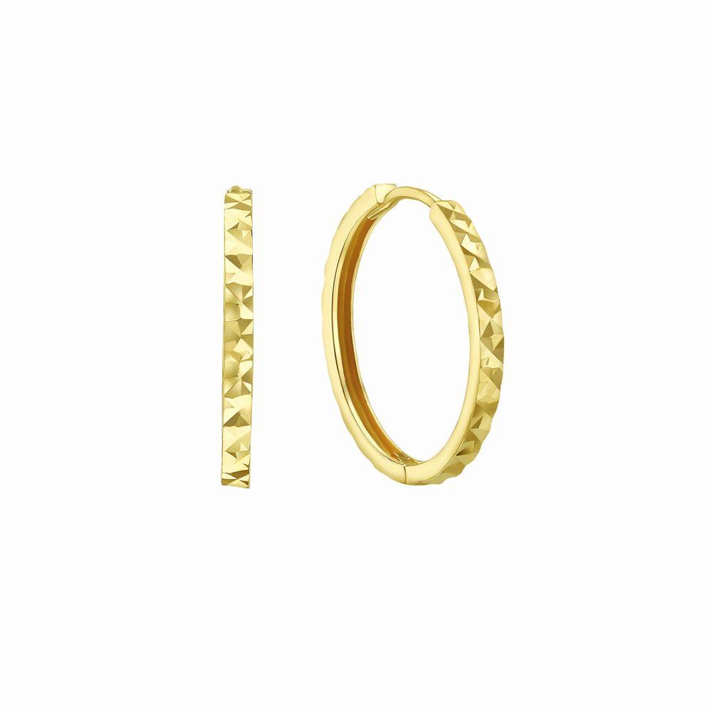 Gold Earrings | 14K Yellow Gold Women's Hoop Earrings - Diamond Engraving Hoop