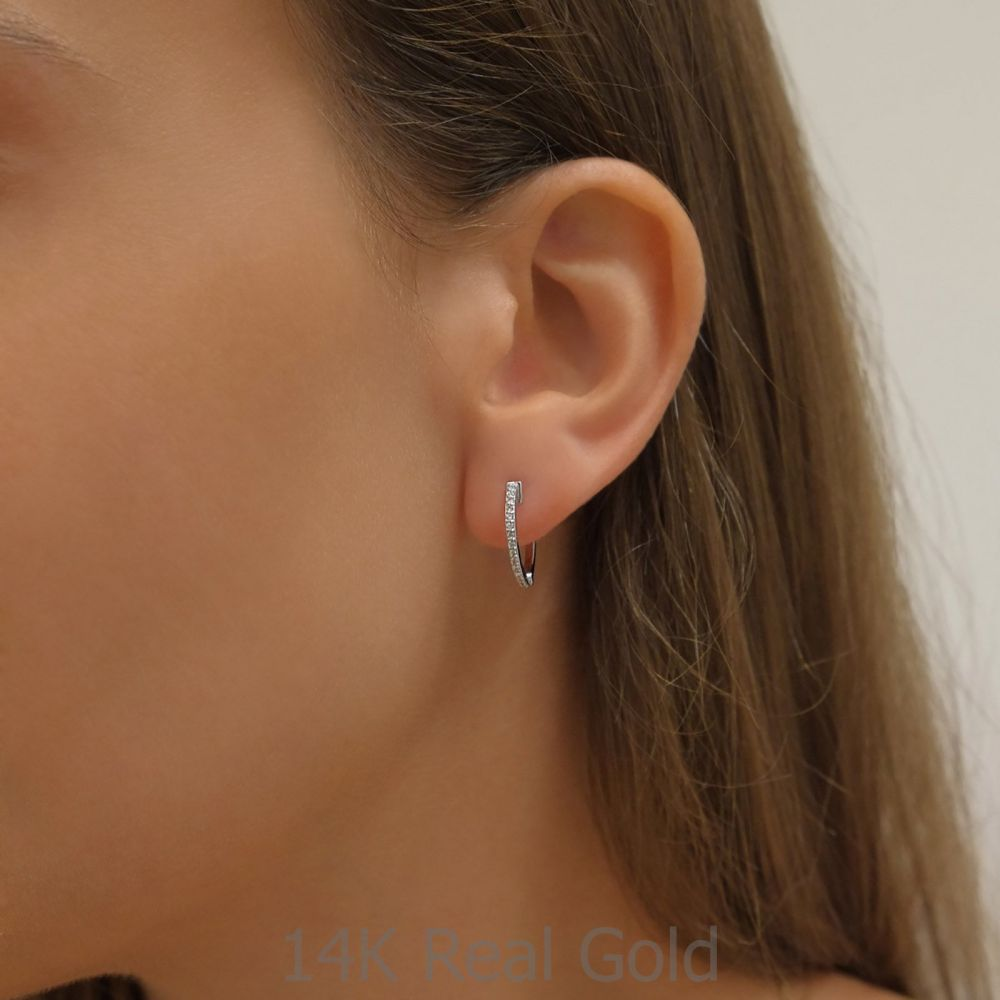 Diamond Jewelry   14K White Gold Diamond Women's Hoop Earrings - S