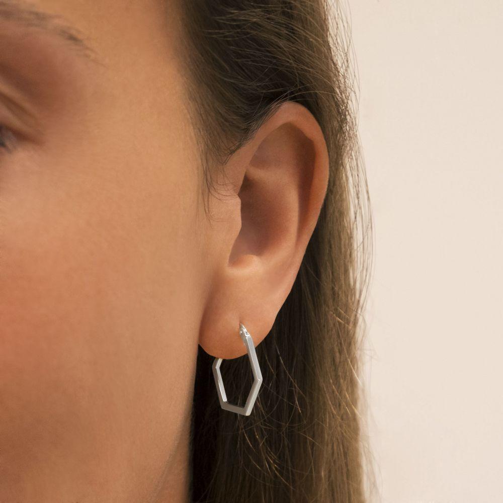 Women's Gold Jewelry | 14K White Gold Women's Earrings - Barcelona
