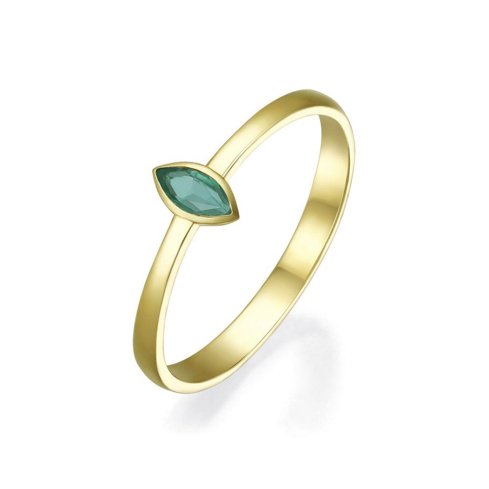 Diamond Jewelry | 14K Yellow Gold Emerald  ring - Valencia