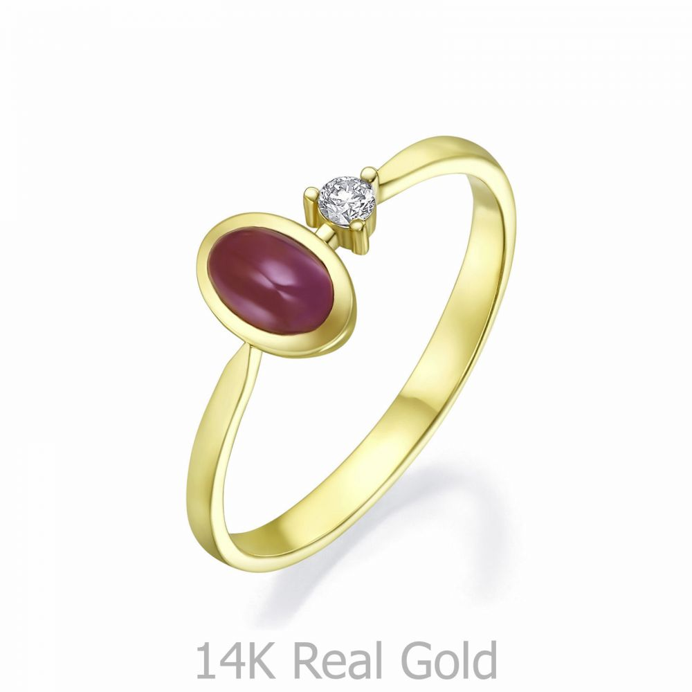 Women's Gold Jewelry | 14K Yellow Gold Ruby and Diamond ring - Jamie