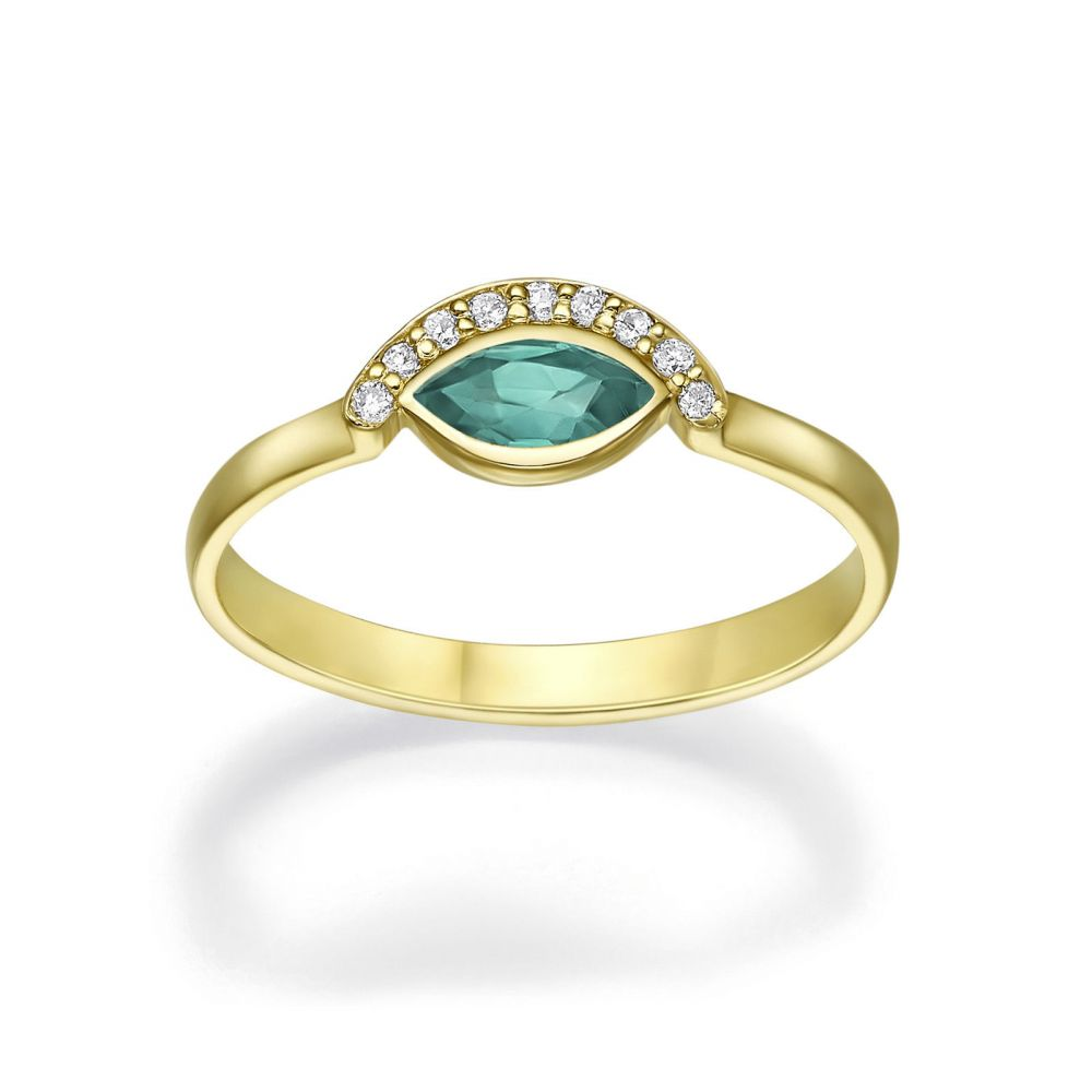 Diamond Jewelry | 14K Yellow Gold Emerald and Diamond  ring - Moana