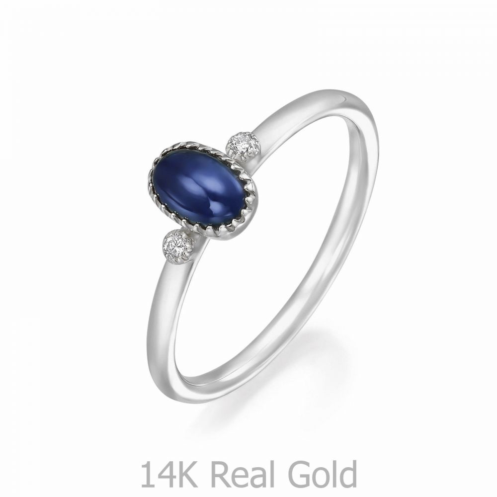 gold rings | 14K White  Gold Sapphire and Diamond  ring - Liberty