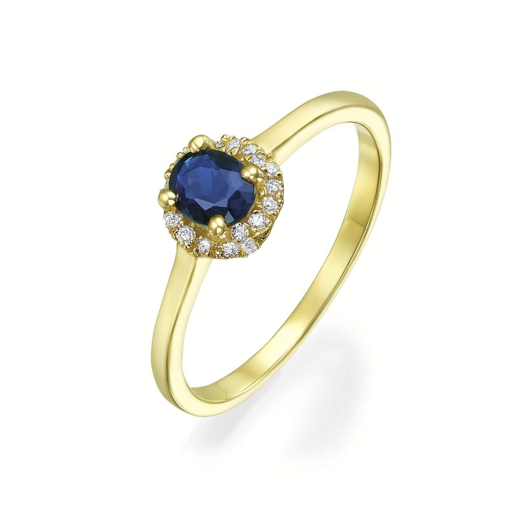 gold rings | 14K Yellow Gold Sapphire and Diamond  ring - Royal