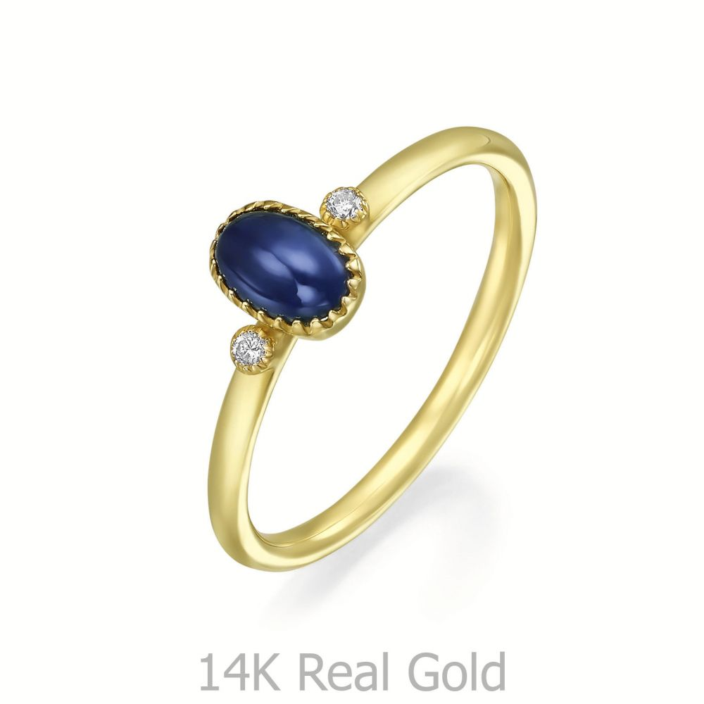 gold rings | 14K Yellow Gold Sapphire and Diamond  ring - Liberty