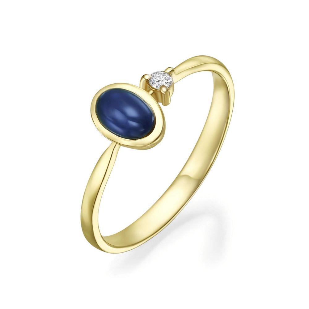 gold rings | 14K Yellow Gold Sapphire and Diamond  ring - Kaitlyn