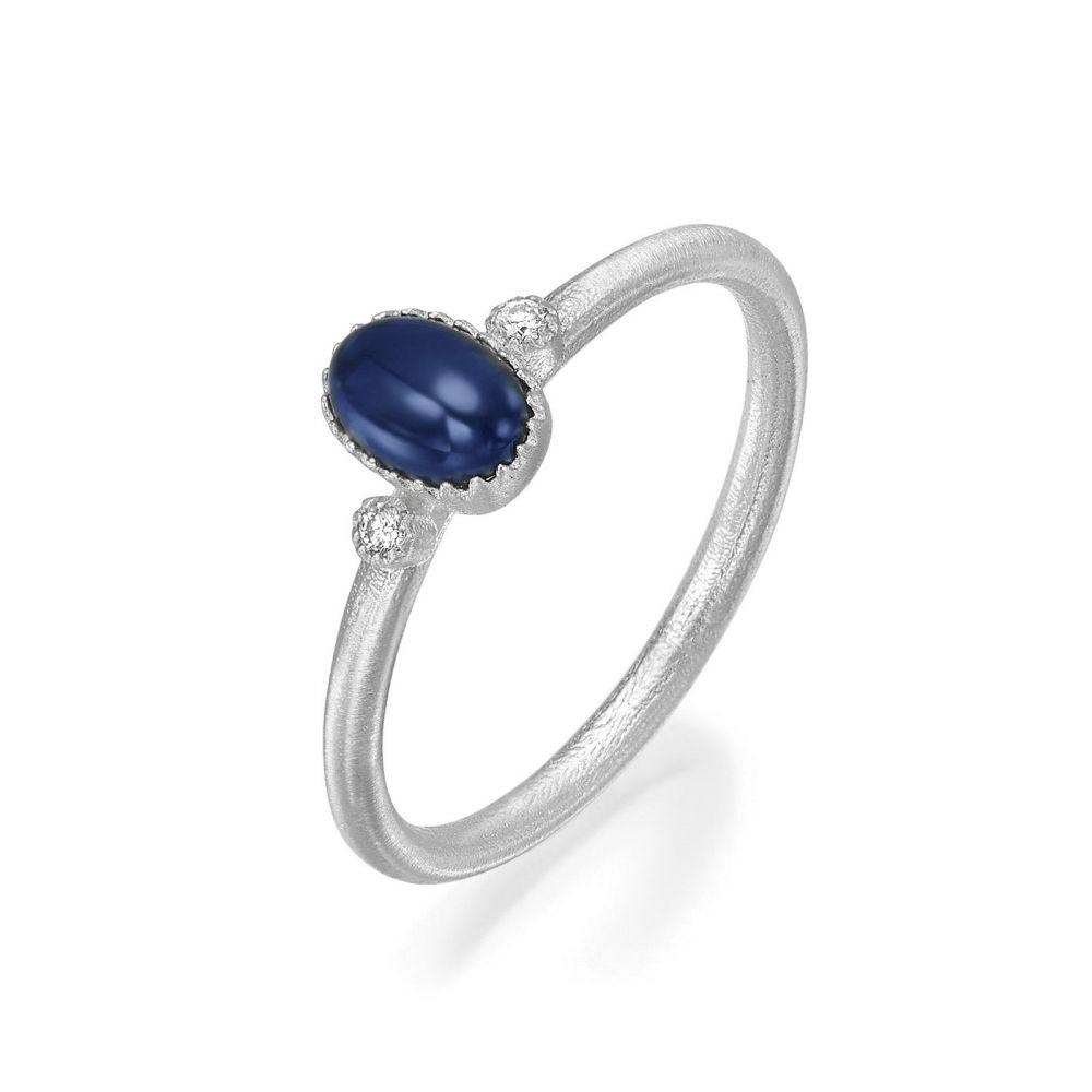 gold rings | 14K White Gold Sapphire and Diamond  ring - Matt Liberty