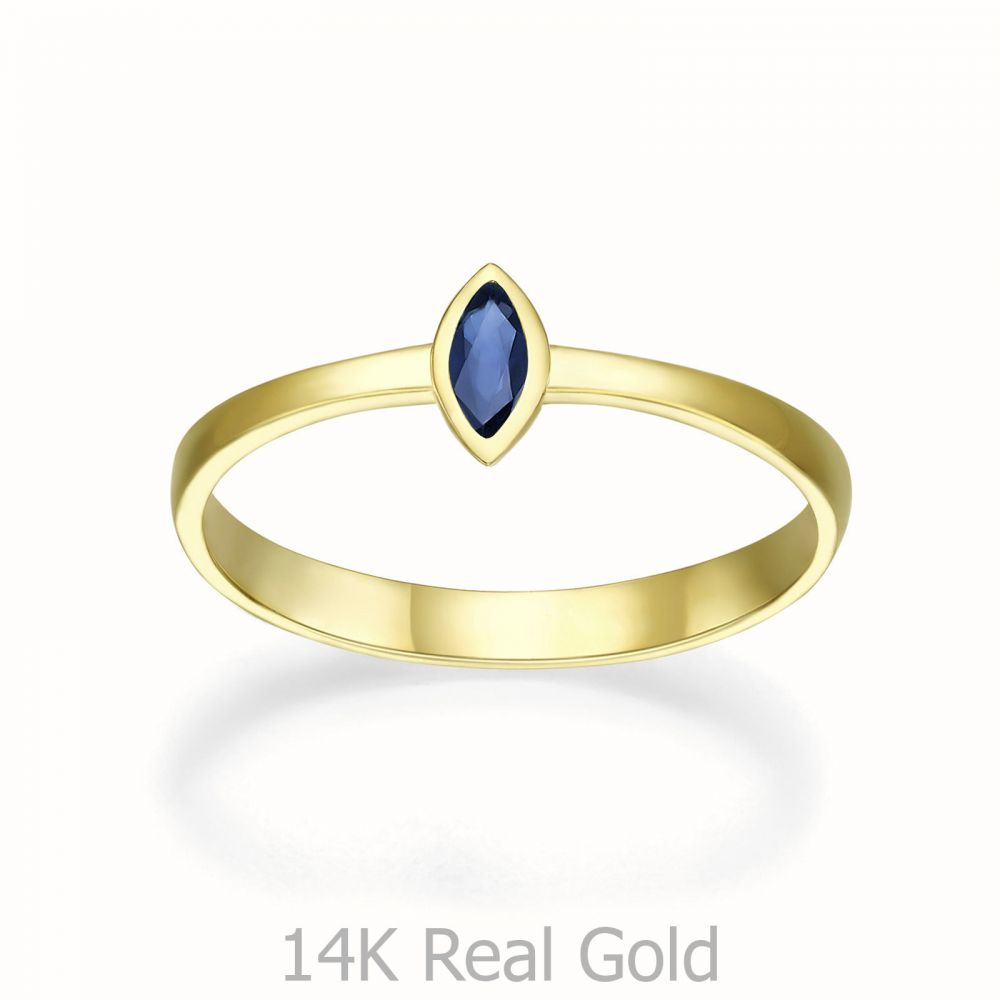 gold rings | 14K Yellow Gold Sapphire ring - Bri