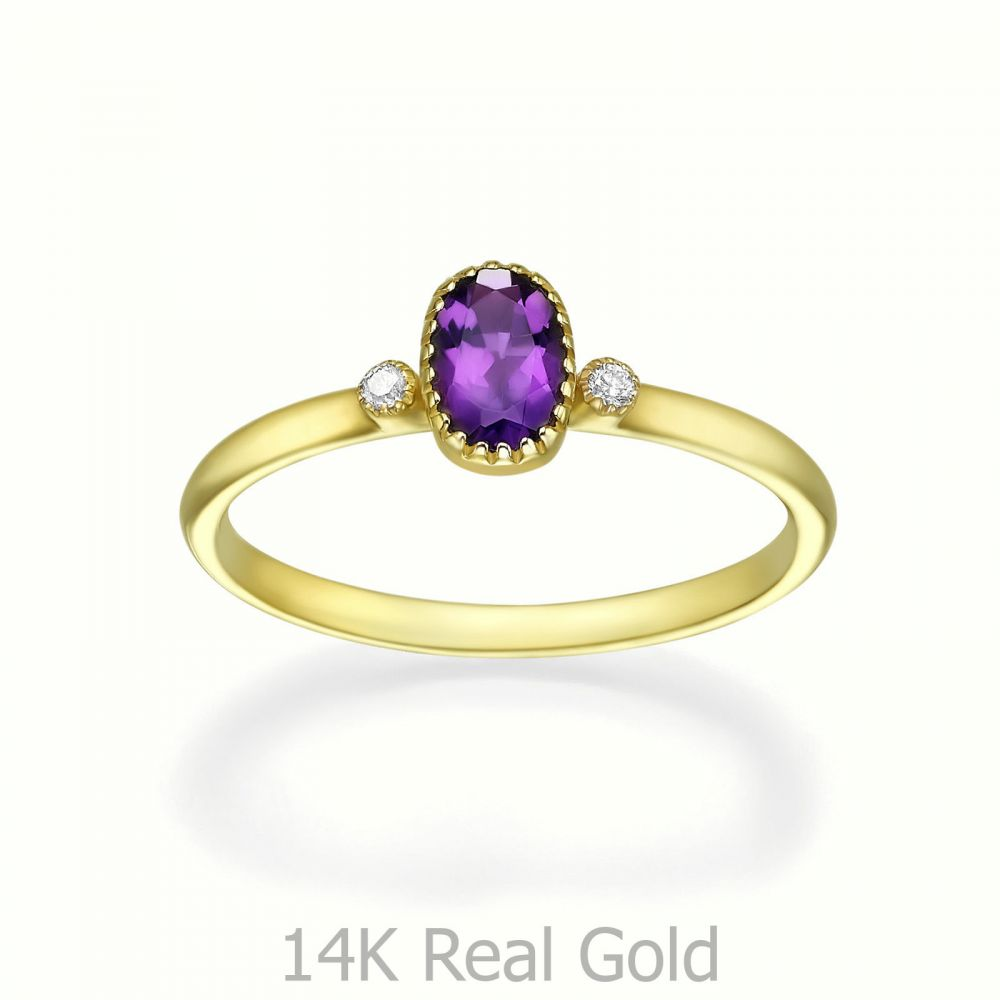 gold rings | 14K Yellow Gold Amethyst and Diamond ring - Sansa