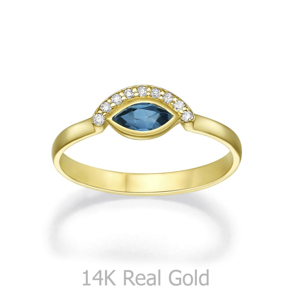 gold rings | 14K Yellow Gold Sapphire and Diamond  ring - Arya