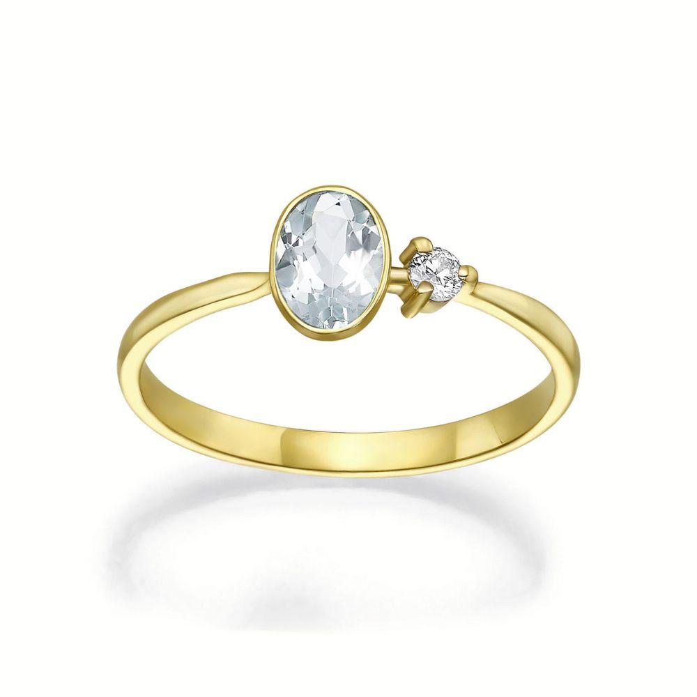 Diamond Jewelry | 14K Yellow Gold Aquamarine and Diamond ring - Rain
