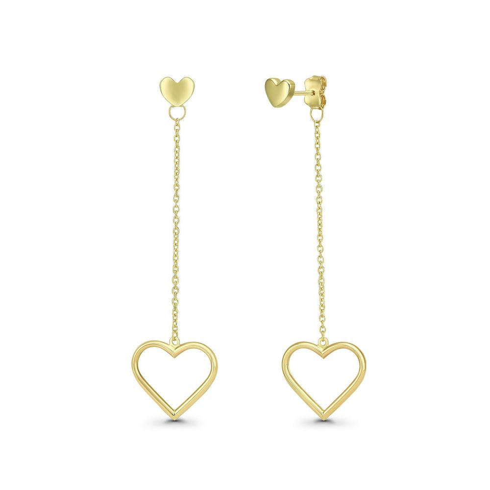 Gold Earrings | 14K Yellow Gold Earrings - Hanging Hearts