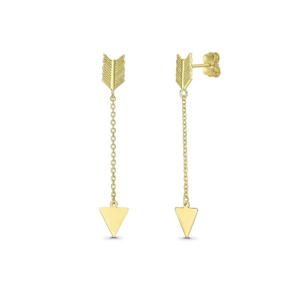 Gold Earrings | 14K Yellow Gold Earrings- Cupid Arrow