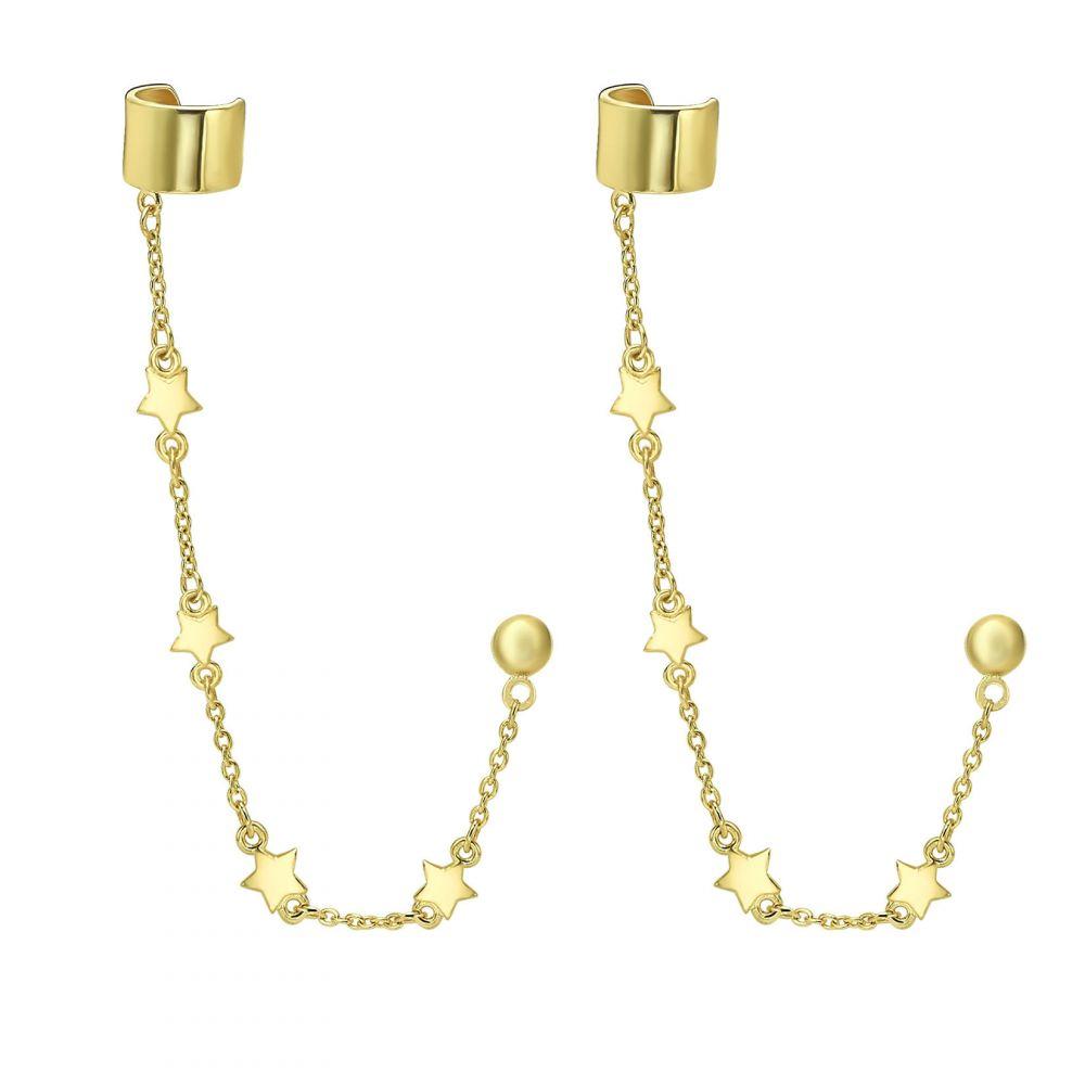 Gold Earrings | 14K Yellow Gold Earrings- Falling Stars