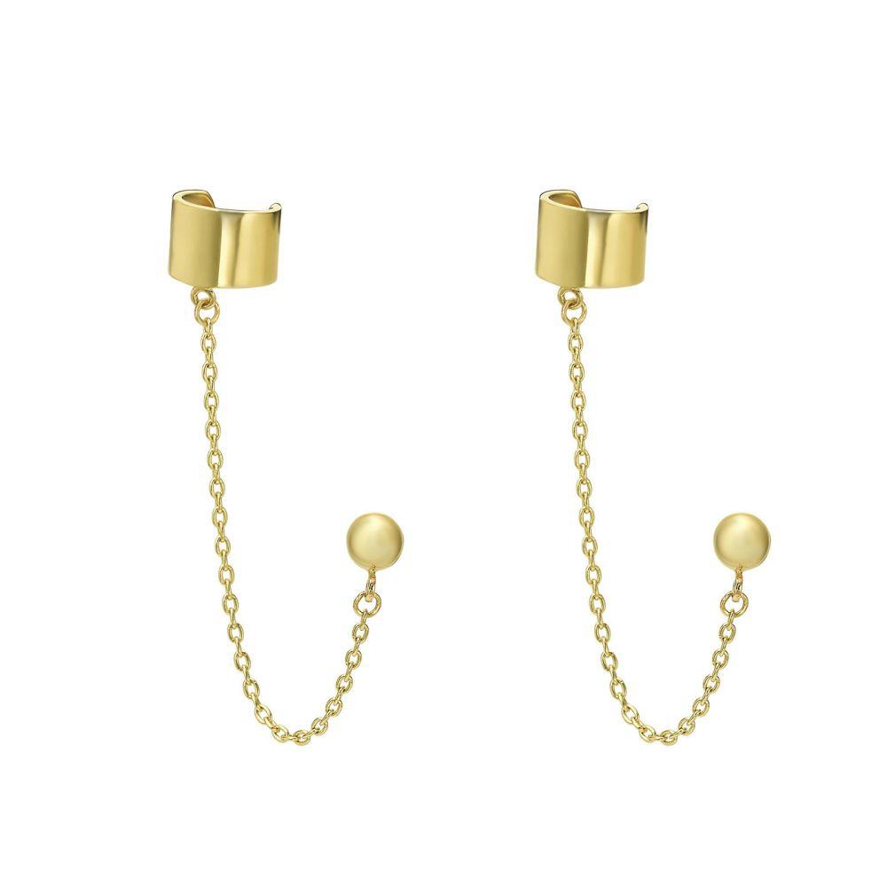 Gold Earrings | 14K Yellow Gold Earrings- Helix Stud Earring Climbs