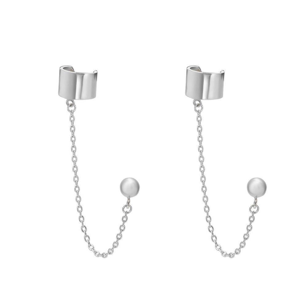 Gold Earrings   14K White Gold Earrings- Helix Stud Earring Climbs