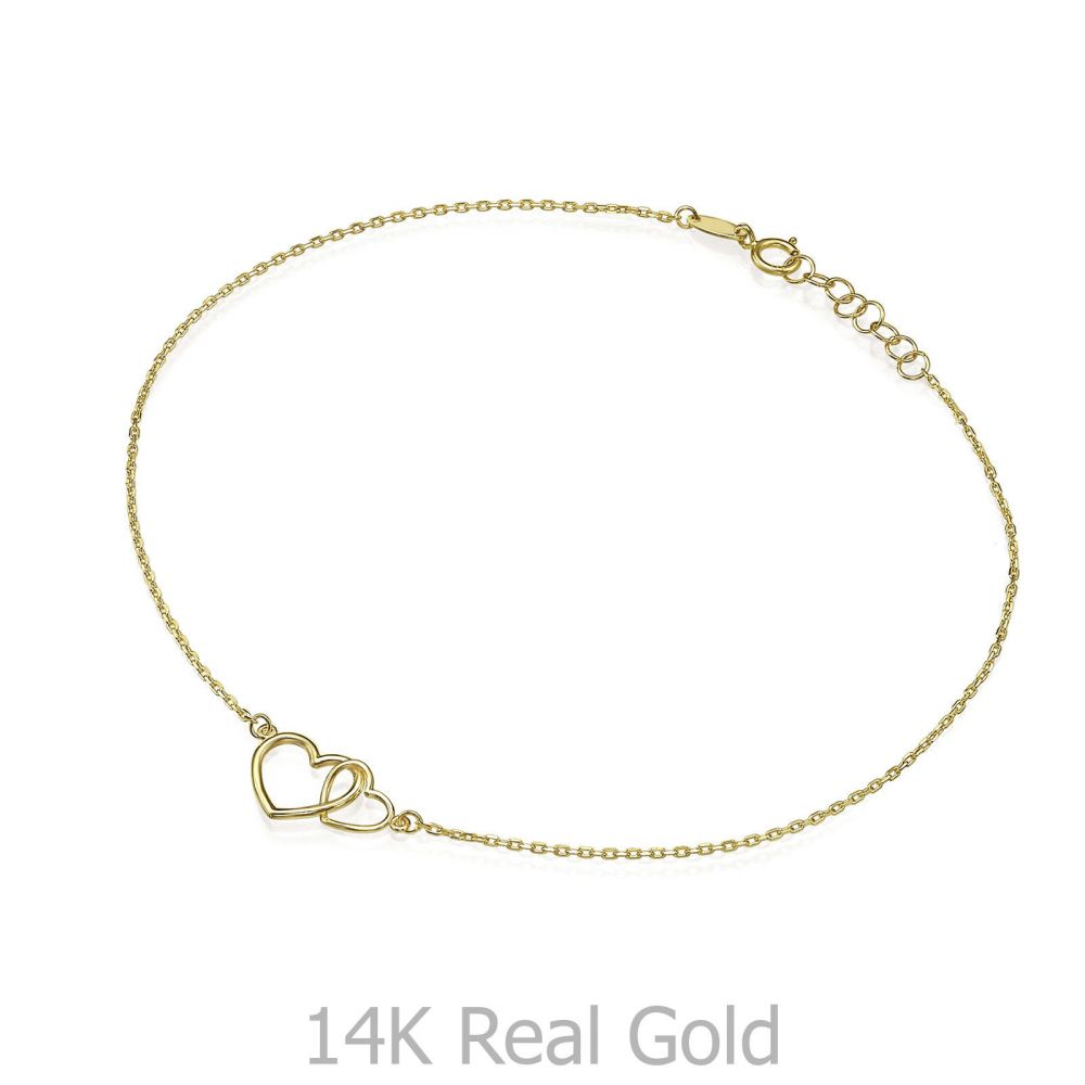 Women's Gold Jewelry | 14K Yellow Gold Ankl Bracelet - United Hearts