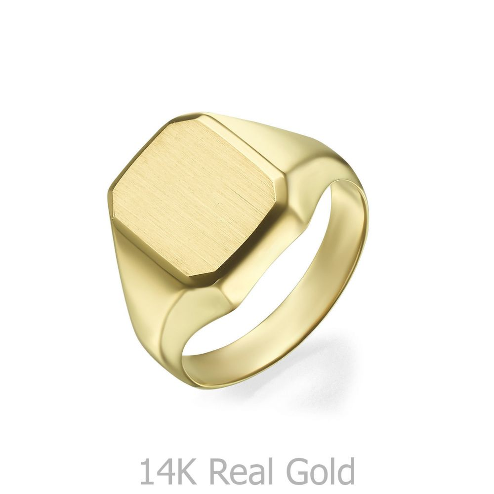 Women's Gold Jewelry | 14K Yellow Gold Ring - Matte Square Seal