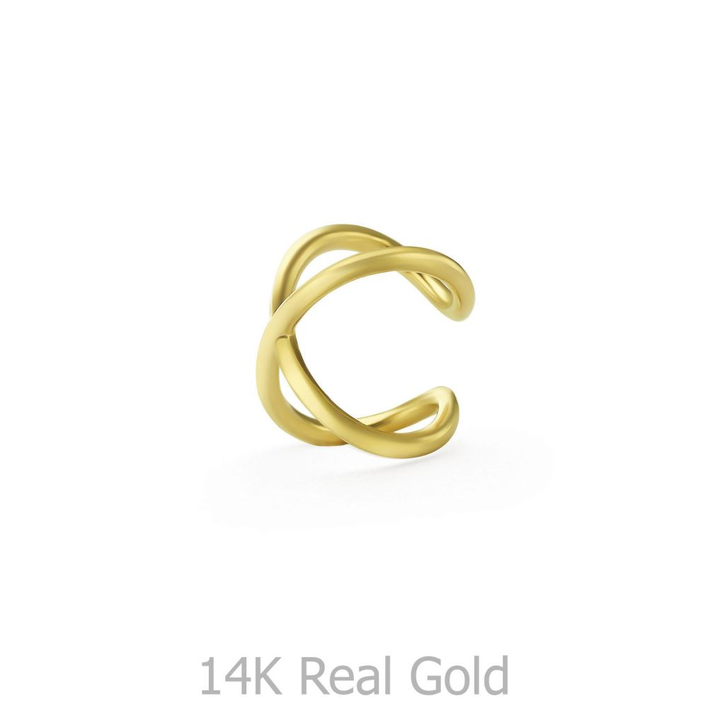 Gold Earrings | 14K Yellow Gold Earrings - Helix X