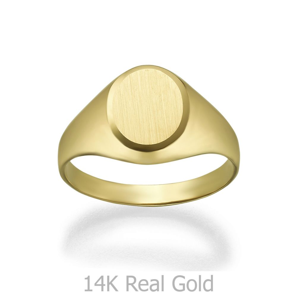 Women's Gold Jewelry | 14K Yellow Gold Ring - Matte Circle Seal
