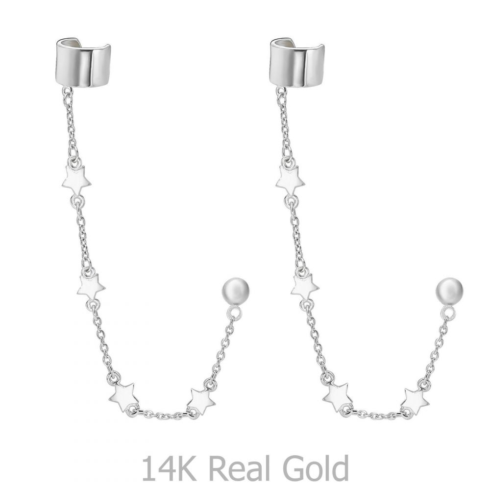 Women's Gold Jewelry | 14K White Gold Women's Earrings - Falling Stars