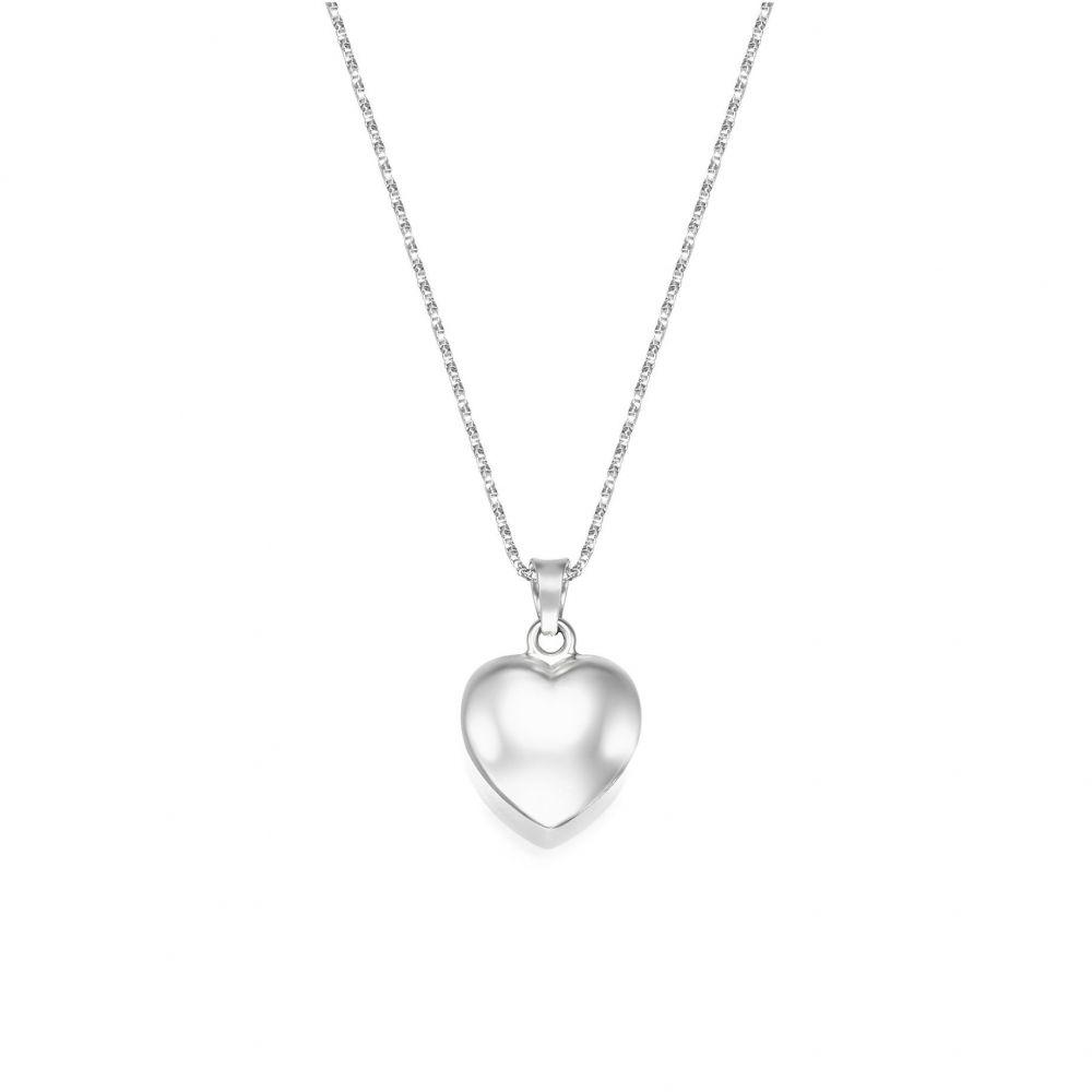 Women's Gold Jewelry | 14K White Gold Women's Pendant - Heart of Fiji