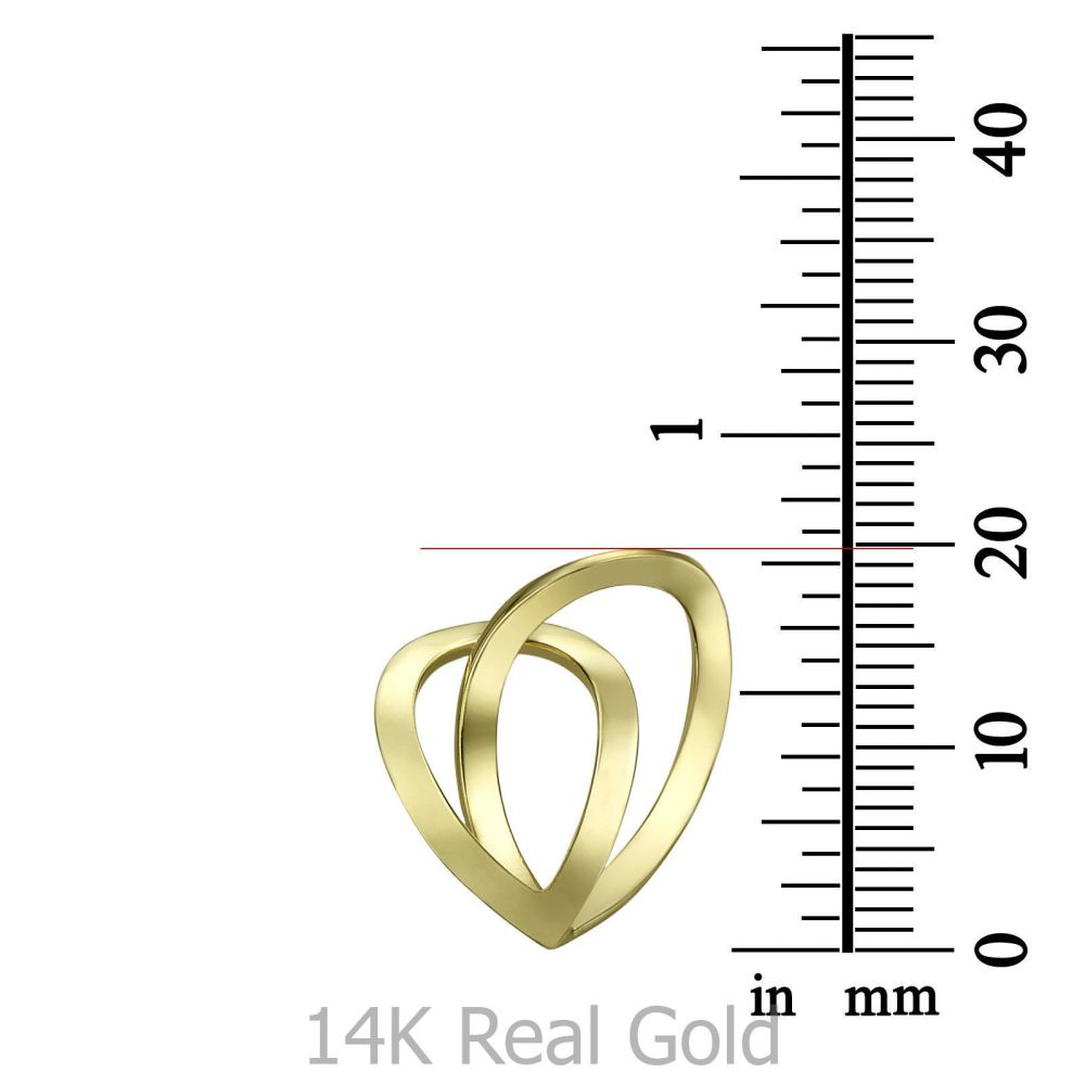 Women's Gold Jewelry | Pendant and Necklace in 14K Yellow Gold - Two Drop Hearts